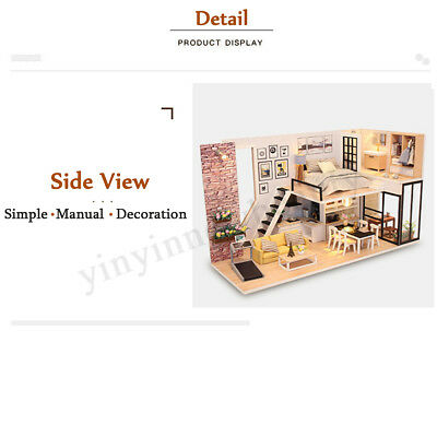 DIY LED Wooden Dollhouse Miniature Wooden Furniture Kit Doll House Kid's Toy AU 10