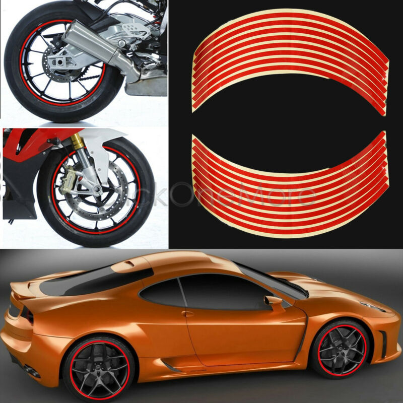 "Motorbike Car Reflective Wheel Rim Trim Tape Sticker Up to 18"" Red Pack of 16"