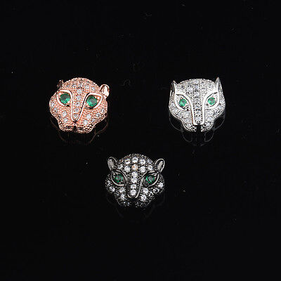 Zircon Gemstones Pave King Crown Leopard Head Bracelet Connector Charm Beads 4