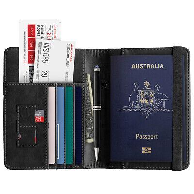 Slim Leather Travel Passport Wallet Holder RFID Blocking ID Card Case Cover AU 11