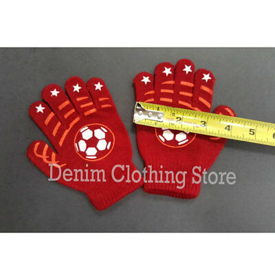 6~12 Boy's Kid Children Girl Soccer Ball Star Knit Magic Warm Winter Gloves Lot
