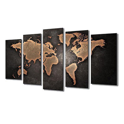 5PCS Unframed Vintage World Map Modern Canvas Print Wall Art Painting Picture 7