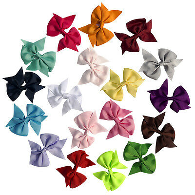 Lot 20pcs 3.5 Inch Baby Hair Bows For Girls Kids Hair Bands Alligator Hair Clips 2