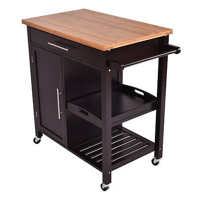 5 Of 11 Rolling Wood Kitchen Island Trolley Cart Bamboo Top Storage Cabinet  Utility New