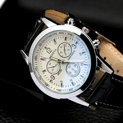 Men's Leather Military Casual Analog Quartz Wrist Watch Business Watches Gifts 11