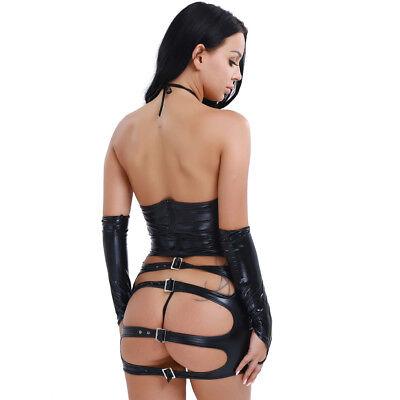 Damen PU Leder Wetlook Clubwear Party Minikleid G-String Handschuhe Dessous Set 3