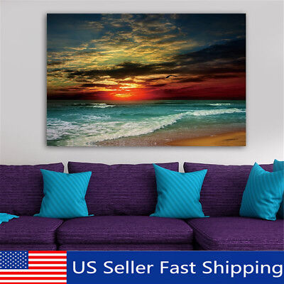 Framed Sunset Beach Sea Modern Canvas Art Painting Print Wall Picture 2