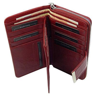 c44addec3b458e 2 von 7 Portemonnaie Damen Lack Geldbörse Börse Portmonee echtes Leder  A5280B Rot