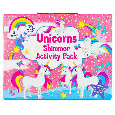 Unicorns Shimmer Activity Pack Kids Colouring Books & Stickers Set 3