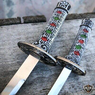 2PC Japanese Samurai Sword Fixed Blade Letter Opener Katana Knife w Stand NEW 5