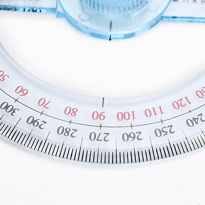 New Plastic 360 Degree Protractor Ruler Angular Viewer Swing Arm School Office 7
