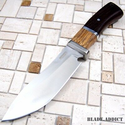 "10"" Outdoor Stainless Steel Survival Skinning Hunting Knife Wood Handle Bowie 2"