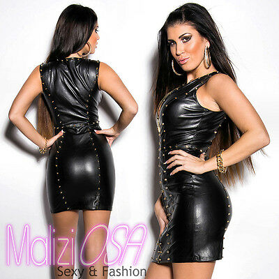 15e12e575756 ... Miniabito Donna ecopelle Borchie Zip Sexy Wetlook Vestito Gogo Club  Mini hot 2