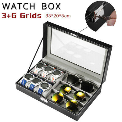 6/9/10/12/20/24 Watch Jewelry Storage Holder Box Watches Sunglasses Display Gift 2