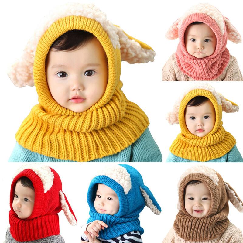 Baby Toddler Kids Boy Girl Winter Warm Knitted Pom Pom Beanie Hat Cap Scarf Sets 7