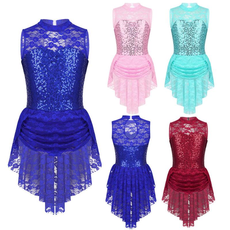 Kinder Mädchen Eiskunstlauf Kleid Ärmellos Spitze Ballettkleid Eislaufen Kleider 2