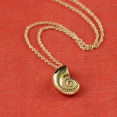 Gold Silver Plated Conch Fossil Ammonite Shell Necklace Pendant Nautical 4