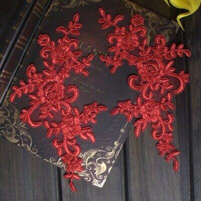 1Pair Embroidered Flower Lace Applique Motif Trim Wedding Dress Sew Crafts DIY 1 5