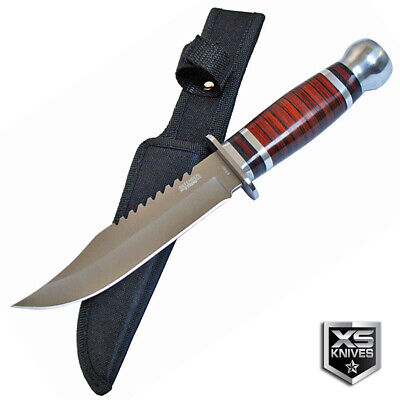 "10"" FIXED BLADE Survival CHERRY WOOD Hunting Bowie Knife Tactical + SHEATH 3"