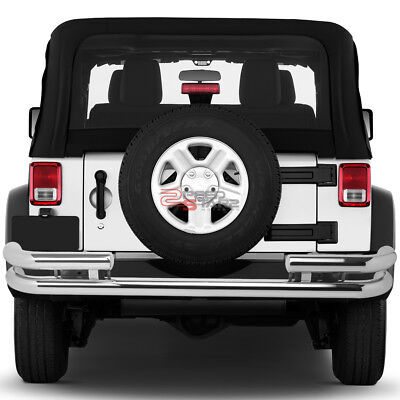 CHROME STEEL DOUBLE PIPE BAR REAR BUMPER PROTECTOR GUARD FOR 88-06 JEEP WRANGLER
