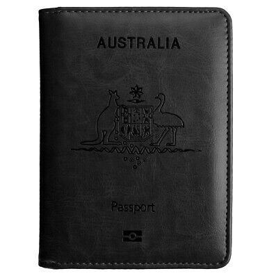 Slim Leather Travel Passport Wallet Holder RFID Blocking ID Card Case Cover AU 12