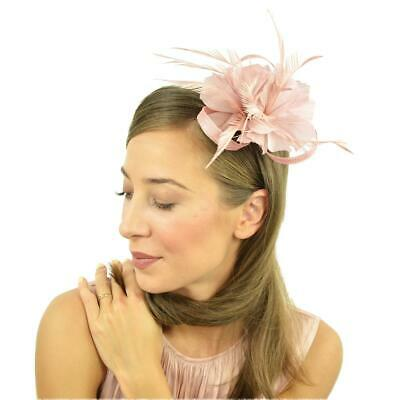 Dusky Pink Feather Clip Fascinator Brooch Pin Ladies Day Royal Ascot Weddings 2