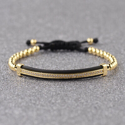 Luxury Jewelry Women Men's Micro Pave CZ Crown Braided Adjustable Bracelets Gift 6