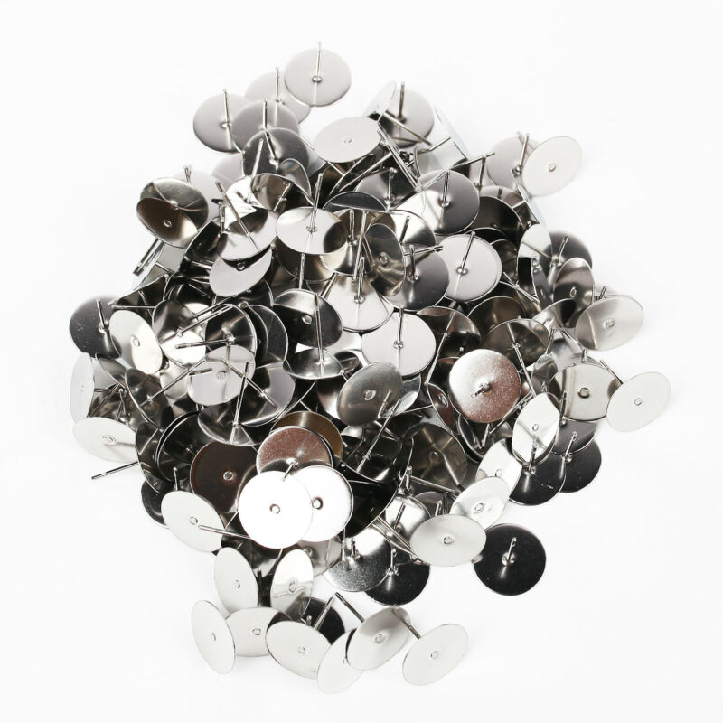 200pcs Flat Stud Earring Post 6/8mm Pads and backs Hypoallergenic Surgical Steel 8