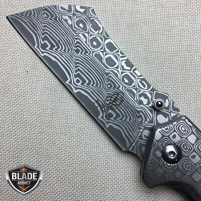 "8"" Cleaver Tactical Damascus Etch Spring Assisted Open Folding Pocket Knife Wood 2"