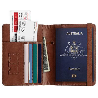 Slim Leather Travel Passport Wallet Holder RFID Blocking ID Card Case Cover AU 9