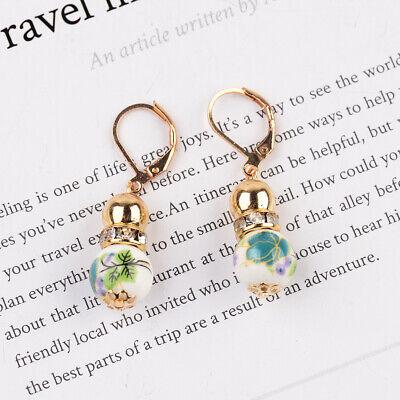 2 Beads Colored Enamel Gemstone Earrings Bohemian Handmade Fashion Earrings Gift 8