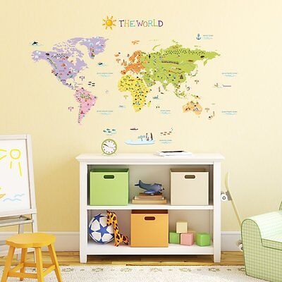 Full Colour Large Striped World Map Wall Sticker Globe Vinyl Art Decal GA4-14