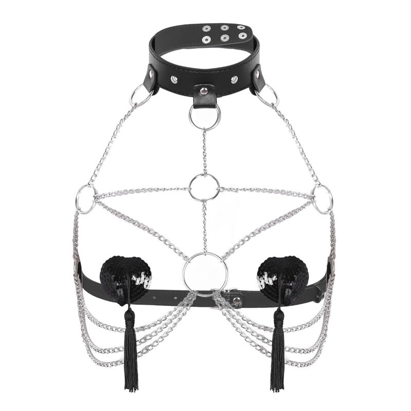 Damen Body Körper Kette BH Harness Leder Fesseln Ketten mit Halsband G-string 4