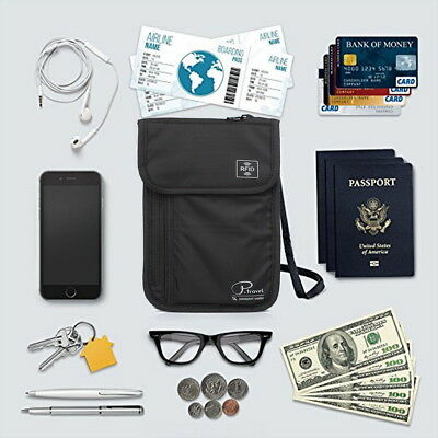 RFID Blocking Passport Card Holder Neck Stash Pouch Security Travel Wallet Bag 3