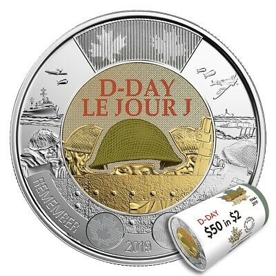 2019 Canada $2 D-Day UNC Coloured Toonie Coin From Special Wrap Roll 3