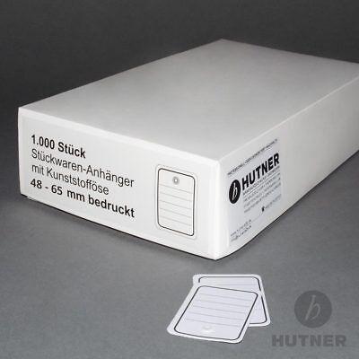 EE348= 600 Etiketten 48x65 liniert mit Öse weiß Karton Hänge für Heftpistole