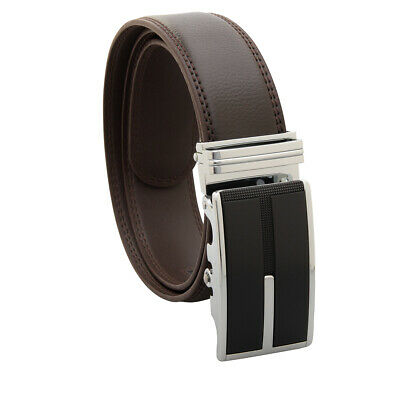 Men's Designer Leather Dress Belt With Sliding Ratchet Automatic Buckle Holeless 9