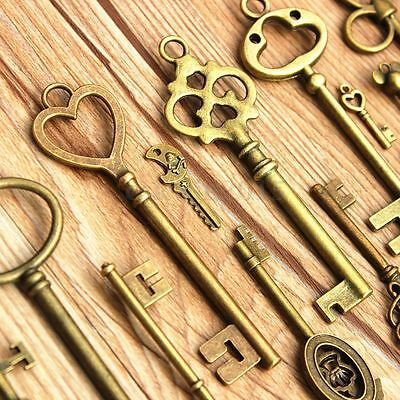 Large Skeleton Keys Antique Bronze Vintage Old Look Wedding Decor Set of 70 Keys 5 • CAD $8.88