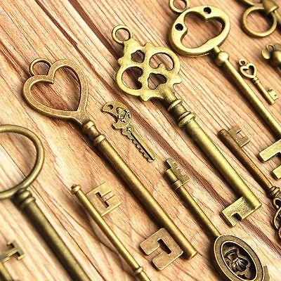 Large Skeleton Keys Antique Bronze Vintage Old Look Wedding Decor Set of 70 Keys 5