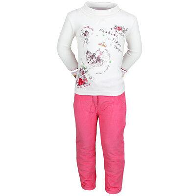Ensemble Enfant Vetements Hiver Fille Pantalon Rose + Gilet + T Shirt 2