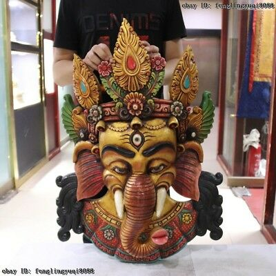 30 Thailand Buddhism Old Wood Hand Carved Color Painted Elephant God Head Mask 2