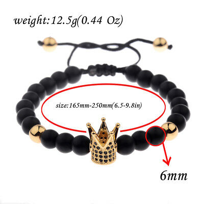 Men Bracelet 24kt Gold Plated Crown Micro Pave Zircon Matt Lava Macrame Bracelet
