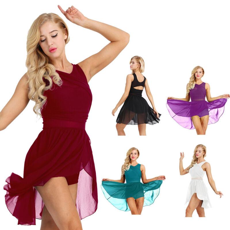 Women Chiffon Ballet Leotard Dress Adult Lyrical Modern Dance Practice Costumes 2
