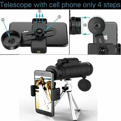 50x60 Portable HD Optical Monocular Telescope Day/Night Vision+Phone Clip+Tripod 10