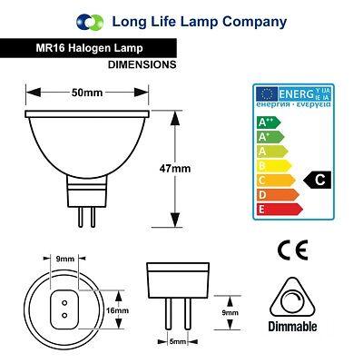 MR16 Halogen Light Bulbs 5W 10W 20W 35W 50W 12V Low Voltage GU5.3 50mm Spotlight 5