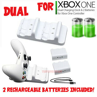 For XBOX ONE Controller Dual Charging Dock Station Charger White + 2 Battery USA 7