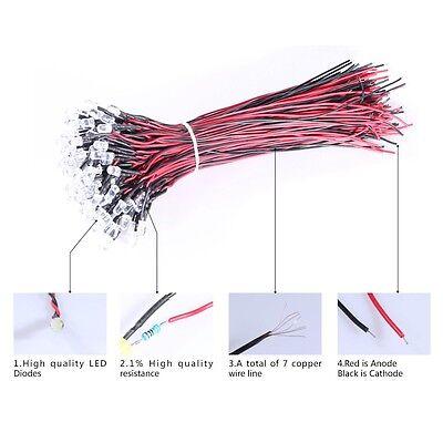 5//10Pcs 5V-12V Pre Wired LED Prewired LEDs 3mm//5mm Ultra Bright Various Colours