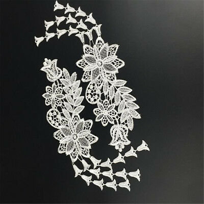 1 Pair Embroidery DIY Lace Applique Sewing Wedding Dress Trim Craft Patch Decor 10