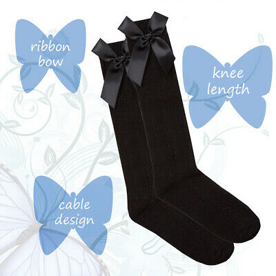 Girls Cute Spanish Style Knee High Cable Design Socks With Ribbon Bow Gift Idea 2