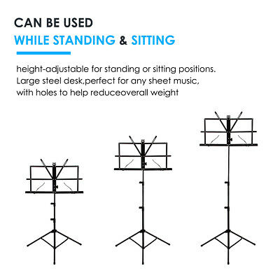 Adjustable Music Stand Holder Foldable Sheet Tripod Base Metal with carry bag 5